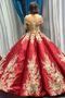 Robe de bal Rosée épaule Manche Courte Laçage À la masse Étoilé - Page 1