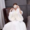 Fausse fourrure de mariage châle chaud grand manteau de mariée de taille