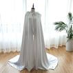 Châle de mariage longue cape de mariée veste capuche en satin de couleur