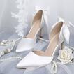 Chaussures de mariage blanches Chaussures de mariée en satin à talons hauts Modèles d'automne et d'hiver