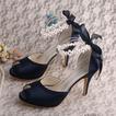 Chaussures de mariée talon aiguille sandales à bout ouvert chaussures de demoiselle d'honneur