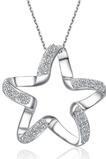 Clavicule Femme Argent étoile à cinq branches incrusté de diamants et pendentif