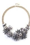 Alliage court à la mode fleurs en gros collier et pendentif