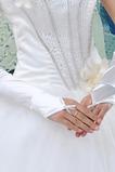 Gants de mariage Cérémonie Longue Romantique Hiver Perle blanc