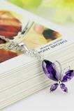 Mode violet incrusté diamant insecte collier en argent et pendentif