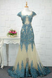 Robe de soirée Sirène Couvert de Dentelle Manquant Soie d'art