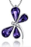 Libellule Femmes Cristal violet Argent Fourniture En Gros Collier et Pendentif