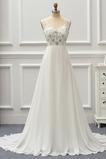 Robe de mariée Col en V Foncé Col en V Perle Epurée Sans Manches