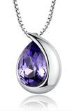 Gros argent en forme de coeur mode cristal femmes collier et pendentif