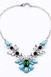 Alliage de mariage incrusté gem cristal fleurs collier et pendentif
