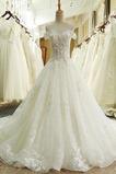 Robe de mariée Cérémonial Hiver Princesse Organza Manche Courte