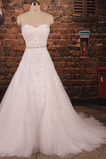 Robe de mariée Longue Luxueux Dentelle Perlé Col en Cœur Manquant