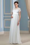 Robe de mariage Manche de T-shirt Elégant Taille haute Longueur au sol