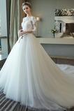 Robe de mariée Elégant Perle Naturel taille Décolleté Dans le Dos