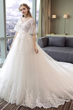 Robe de mariage Manche Courte Luxueux Satin Naturel taille A-ligne