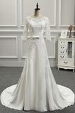 Robe de mariée Couvert de Dentelle Satin Mince Traîne Longue