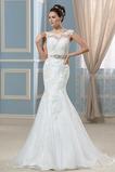 Robe de mariée Traîne Courte Plage Mince Epurée Col Bateau Cristal