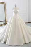 Robe de mariée Drapé Longue Cathédrale Elégant Sans Manches Printemps