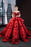 Robe de bal Longue Rosée épaule Cérémonial Manche Courte Mariage