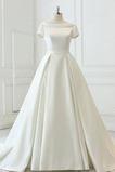 Robe de mariée Manquant Epurée aligne Col Bateau Drapé Automne