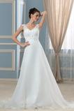Robe de mariée Elégant Col en V Longue Décalcomanie Satin Rectangulaire