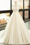 Robe de mariée Hiver Fermeture à glissière Drapé Eglise Soie