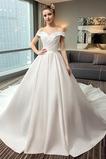 Robe de mariée Manche Courte Fourreau pli Salle des fêtes A-ligne