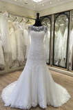 Robe de mariée Manche Longue Fermeture à glissière Traîne Mi-longue