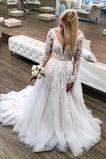 Robe de mariée Rivage Col en V Naturel taille Couvert de Tulle