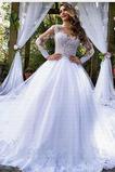 Robe de mariée Formelle Salle Tulle Couvert de Dentelle Manche de T-shirt