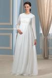 Robe de mariée Manche Longue Petit collier circulaire Manche de T-shirt