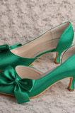 Chaussures de mariage papillon en satin côté talons aiguilles creux talons aiguilles vertes