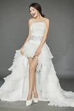 Robe de mariage vogue Glissière Perler Sans Manches Naturel taille
