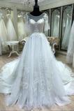 Robe de mariée Manche Courte Décalcomanie Cathédrale a ligne