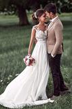 Robe de mariage Mousseline A-ligne Mancheron Automne Dentelle