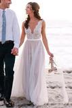 Robe de mariée Tulle Col en V De plein air Naturel taille Traîne Courte