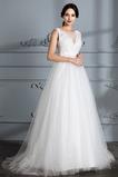 Robe de mariage A-ligne Fermeture à glissière Tulle Médium Naturel taille