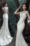 Robe de mariage net Naturel taille Glamour Col en V Foncé Sans Manches