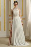 Robe de mariée Sans Manches Perle Moderne Couvert de Dentelle