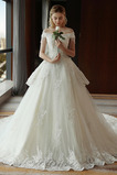 Robe de mariée Drapé Norme A-ligne Manche Courte Eglise Luxueux