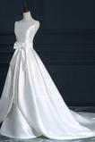Robe de mariée Naturel taille A-ligne Ruché Col Bateau Fermeture éclair
