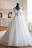 Robe de mariée Multi Couche Sablier Basque Col en V Fermeture éclair