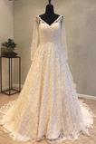 Robe de mariée Manche Longue Couvert de Dentelle Fermeture à glissière