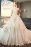 Robe de mariage Rosée épaule Chaussez Salle des fêtes Soie Longue