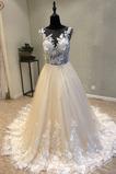 Robe de mariée De plein air Manquant Naturel taille Bouton Satin