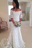 Robe de mariée Manche Courte Fermeture éclair Dentelle aligne