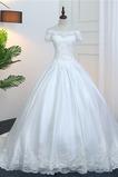 Robe de mariée Chapelle Satin Naturel taille Manche Courte Cérémonial