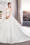 Robe de mariée Printemps Lacez vers le haut A-ligne Norme Satin