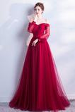 Robe de bal A-ligne Tulle Chaussez Rosée épaule Naturel taille