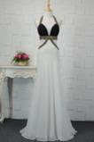 Robe de bal A-ligne Longueur de plancher Haut Bas Chiffon Fourreau Avec Bijoux